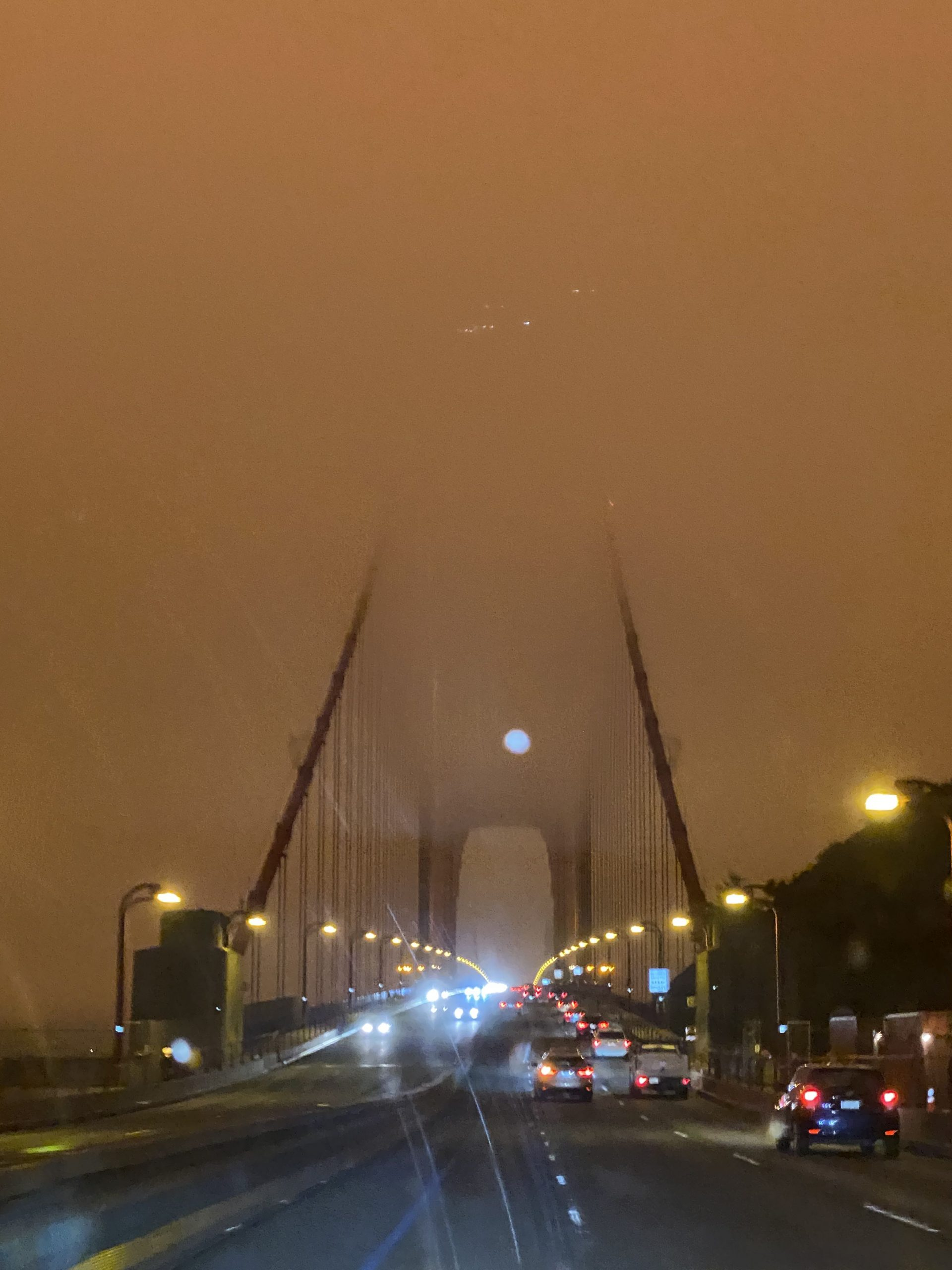 Lynne MacFarlane Blog - driving across the Golden Gate Bridge in Wildfire Smoke and Fog